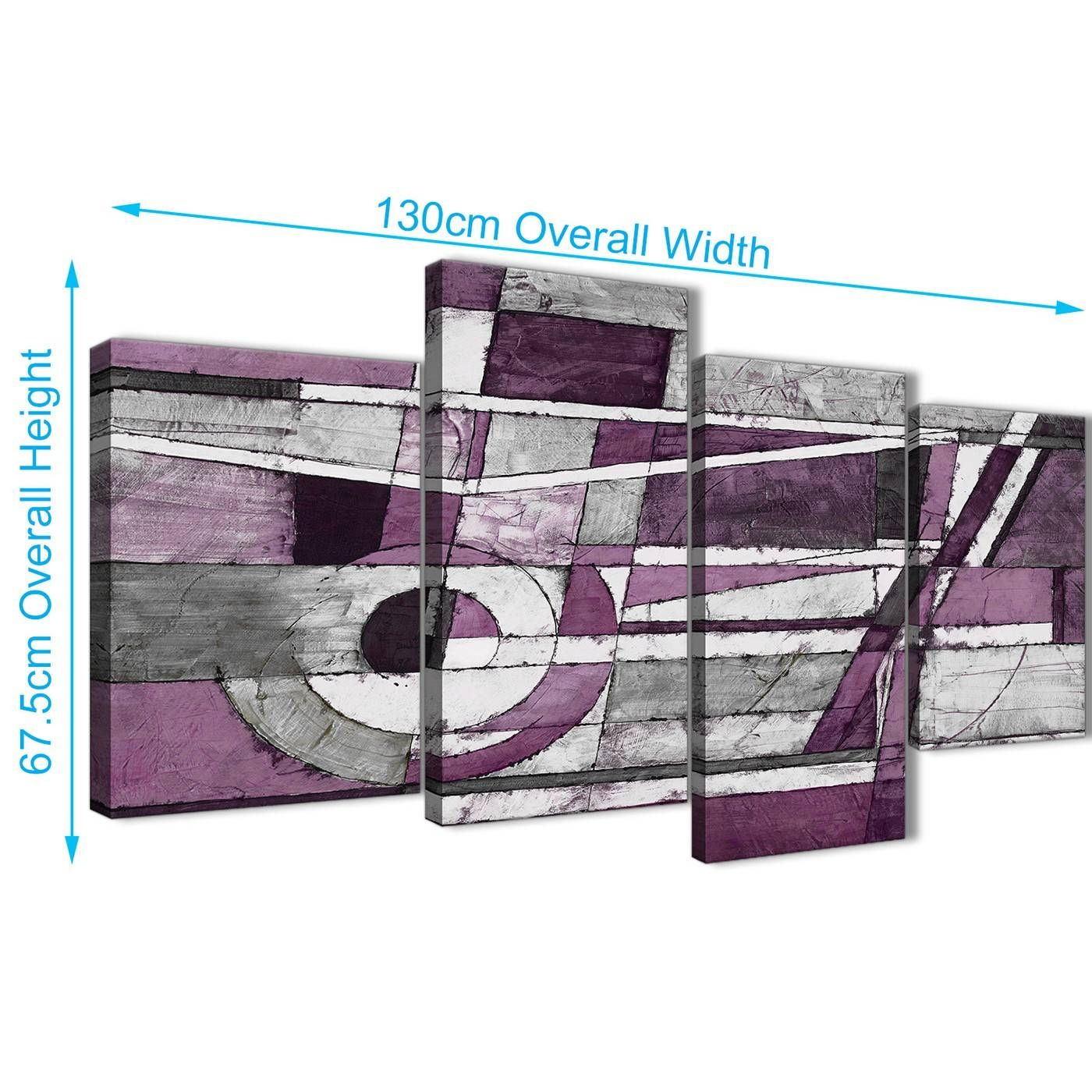Large Aubergine Grey White Painting Abstract Bedroom Canvas Wall Inside 2017 Aubergine Wall Art (View 13 of 20)