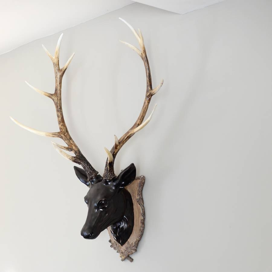 Large Black Deer Head Decorationthe Forest & Co Within Best And Newest Stag Head Wall Art (View 4 of 20)