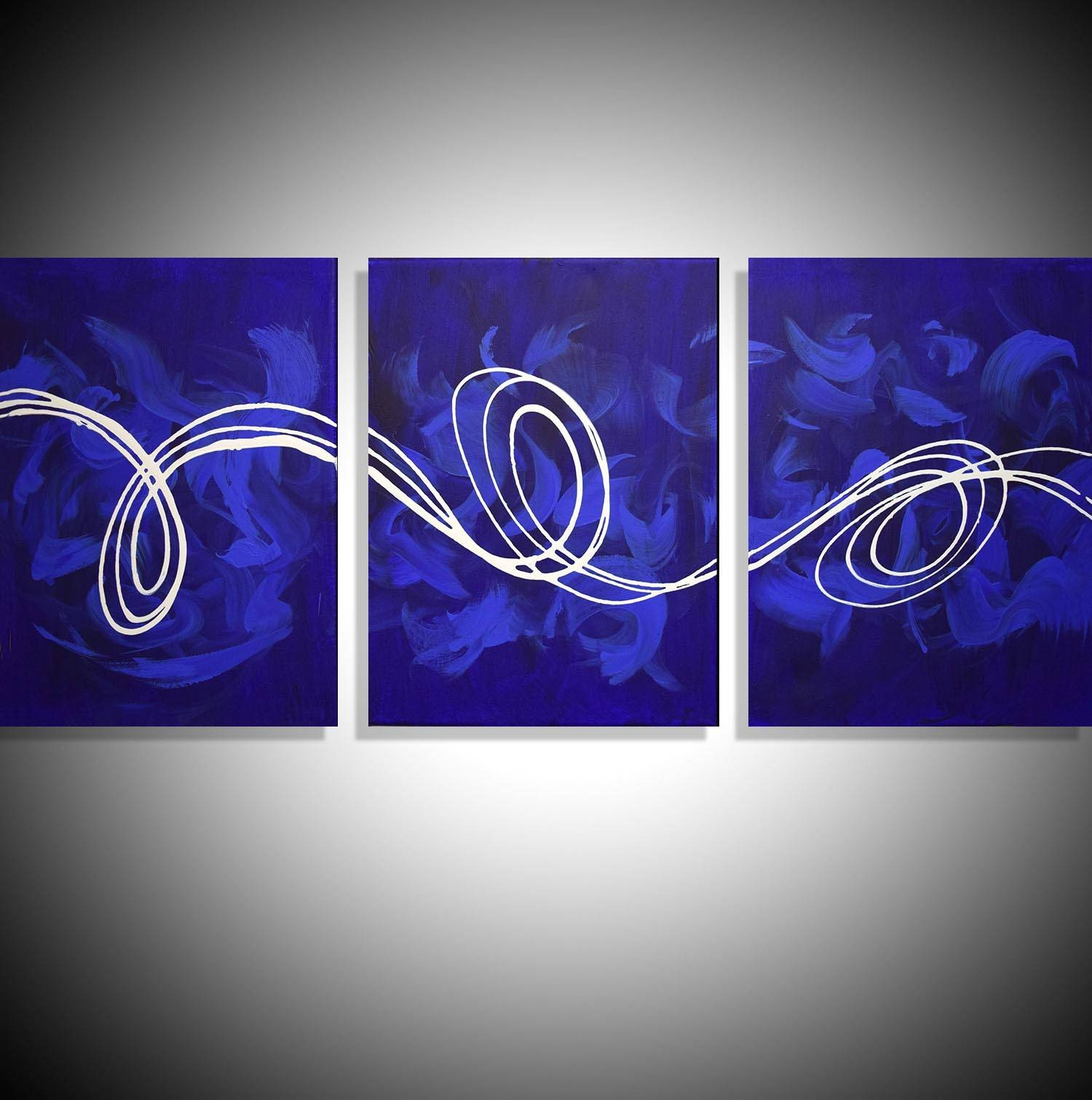 """Large Canvas Art """"deep Blue"""" Big Canvas Abstract Art For Sale Pertaining To Best And Newest Triptych Art For Sale (View 3 of 20)"""