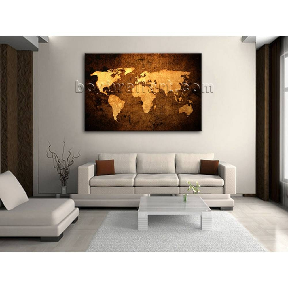 Large Contemporary Abstract Wall Art Retro Atlas Print On Canvas Intended For 2017 Atlas Wall Art (View 19 of 20)