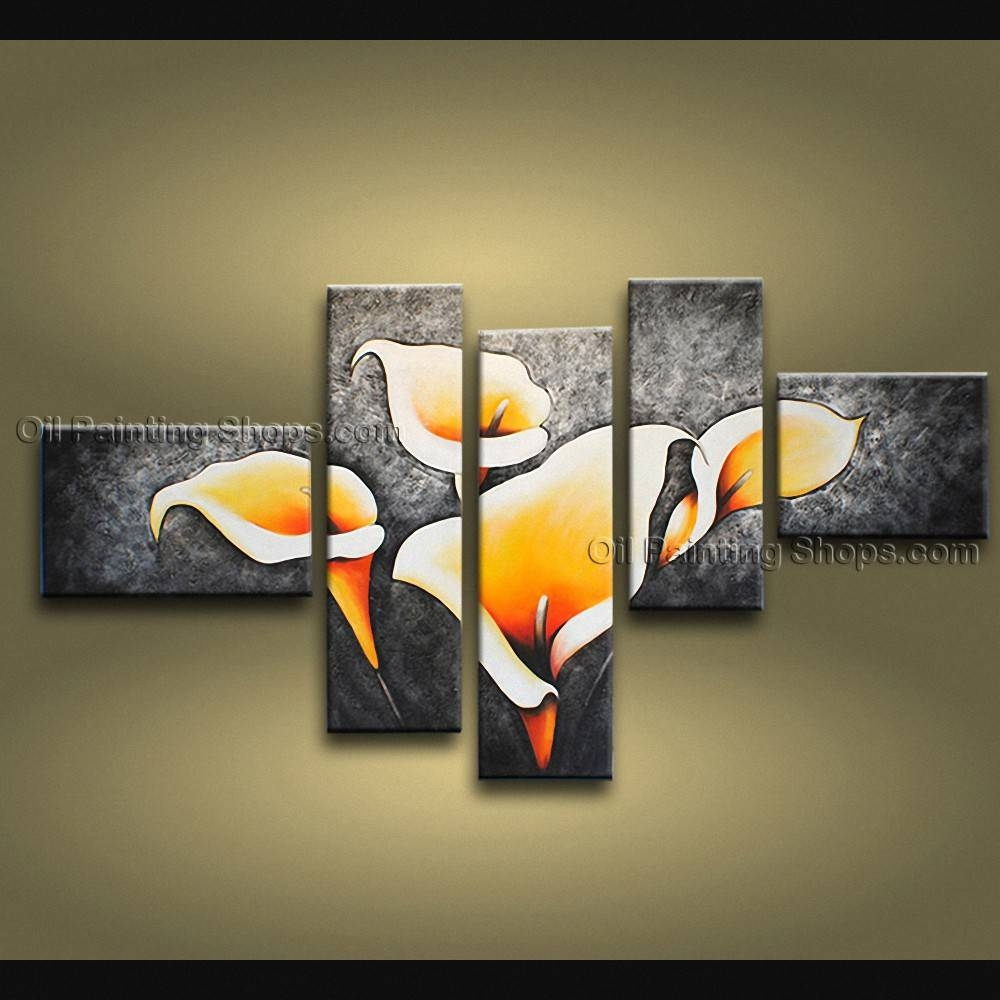 Large Contemporary Wall Art Floral Painting Lily Flowers Artwork With Latest Contemporary Wall Art (View 13 of 20)