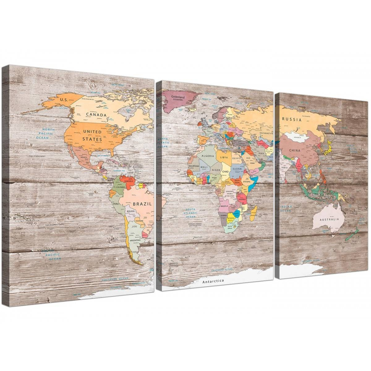 Large Decorative Map Of World Atlas Canvas Wall Art Print  Multi 3 Within Latest Atlas Wall Art (View 9 of 20)