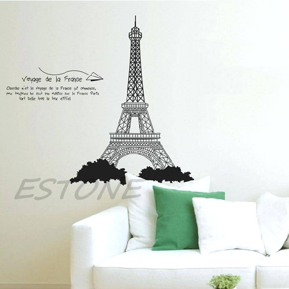 Large Eiffel Tower Wall Decal Tower Wall Sticker Wall Art Decals Within 2017 Eiffel Tower Wall Art (View 16 of 20)