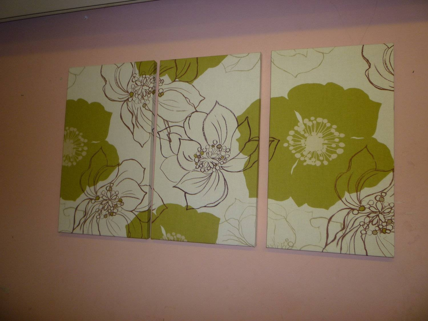 Large Fabric Wall Art Brown Green Funky Retro Floral Designer Pertaining To Best And Newest Large Green Wall Art (View 12 of 20)