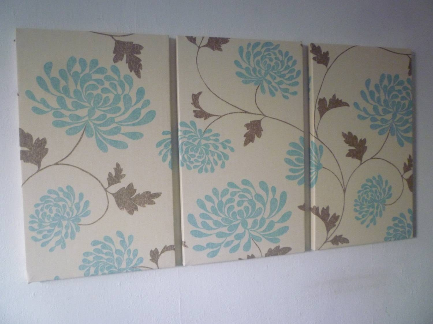 Large Fabric Wall Art Duck Egg Robins Blue Brown Triptych 3 In Recent Duck Egg Blue Wall Art (View 17 of 20)