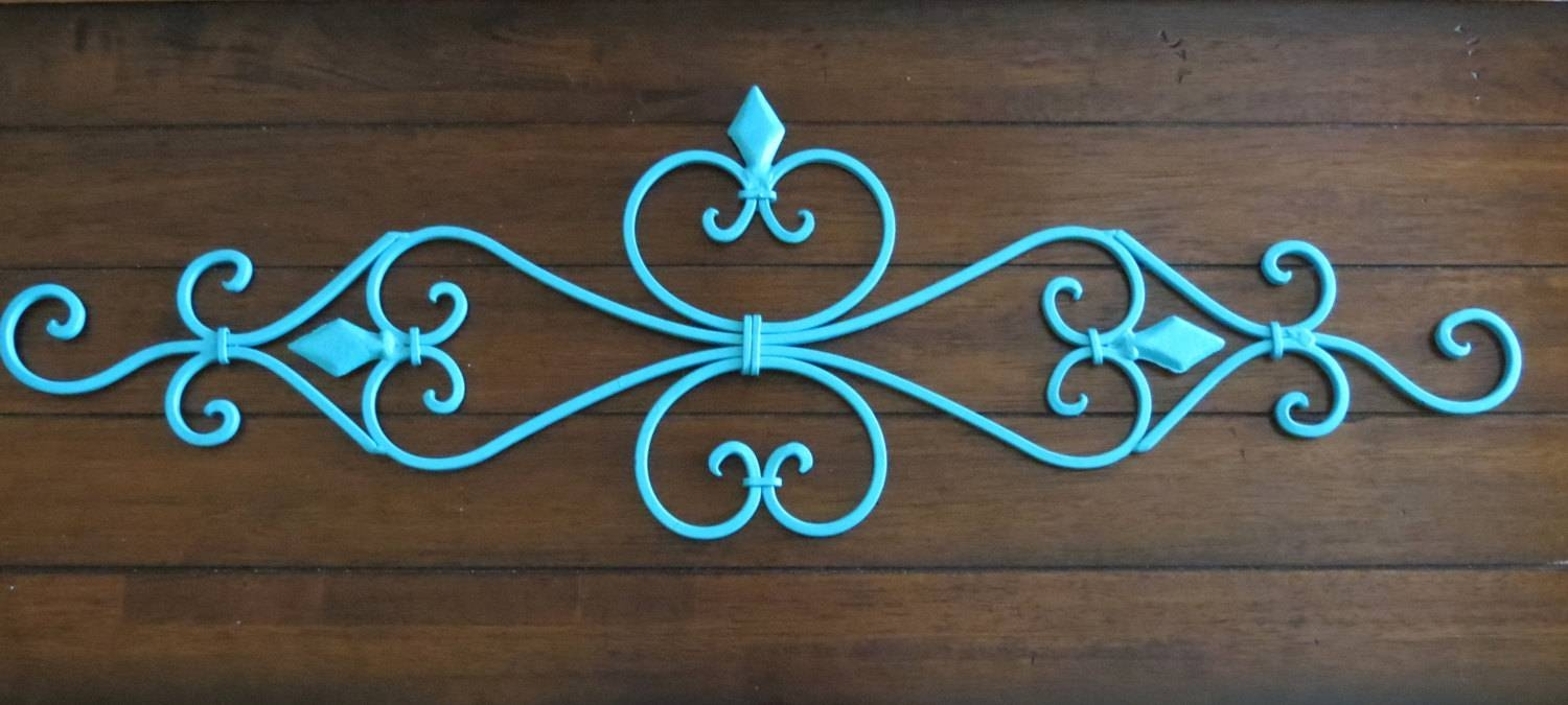 Large Fleur De Lis Metal Wall Hanging / Scrolled Iron Wall Inside Most Current Metal Fleur De Lis Wall Art (View 19 of 25)