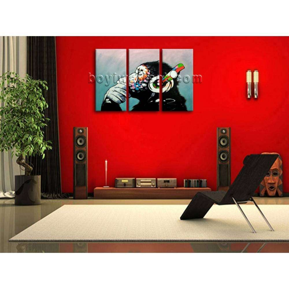 Large Framed Abstract Print Canvas Wall Art Monkey Headphone Regarding 2017 Abstract Canvas Wall Art (View 17 of 20)