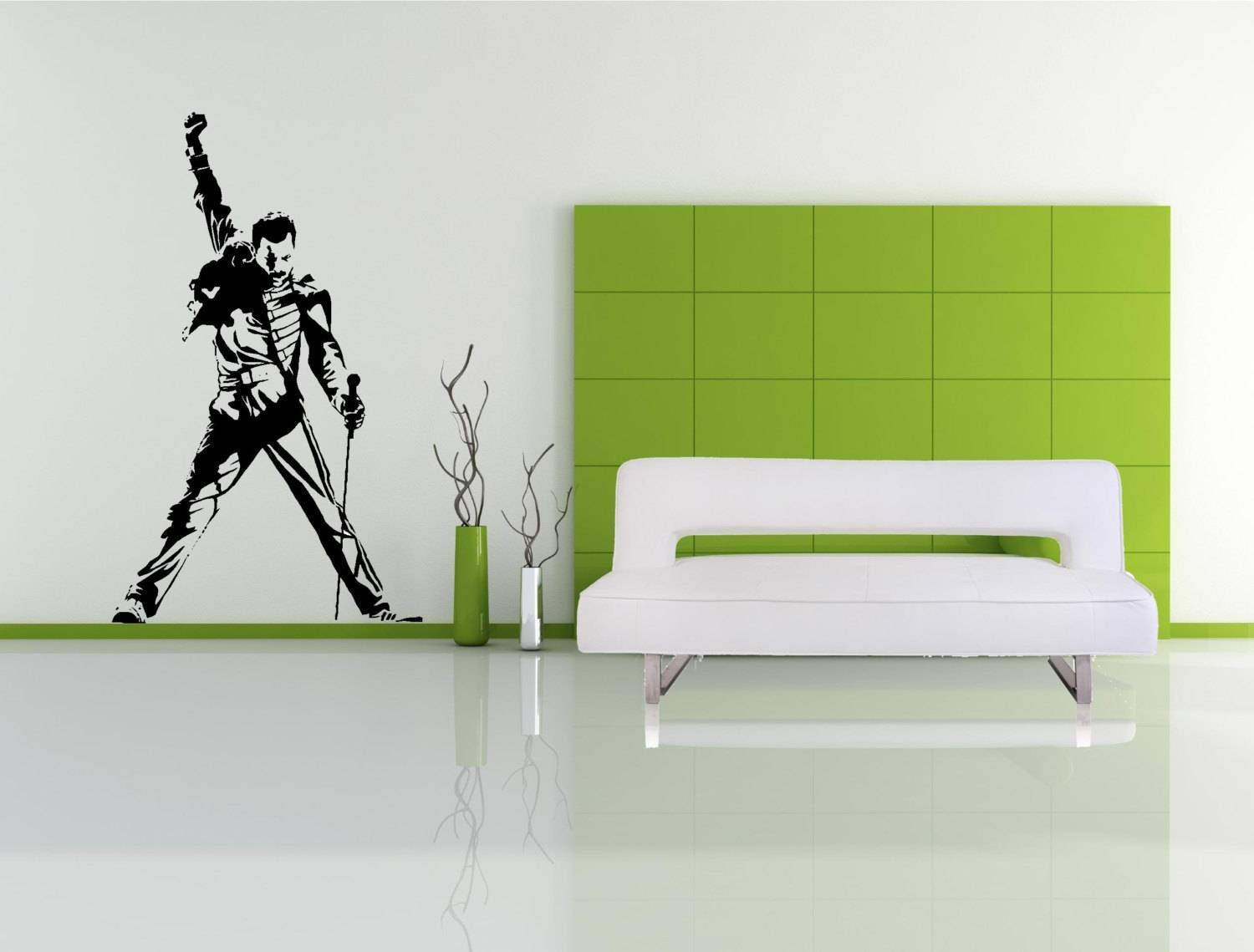 Large Freddie Mercury Wall Decal Queen Wall Art Sticker Regarding Most Up To Date Freddie Mercury Wall Art (View 1 of 15)