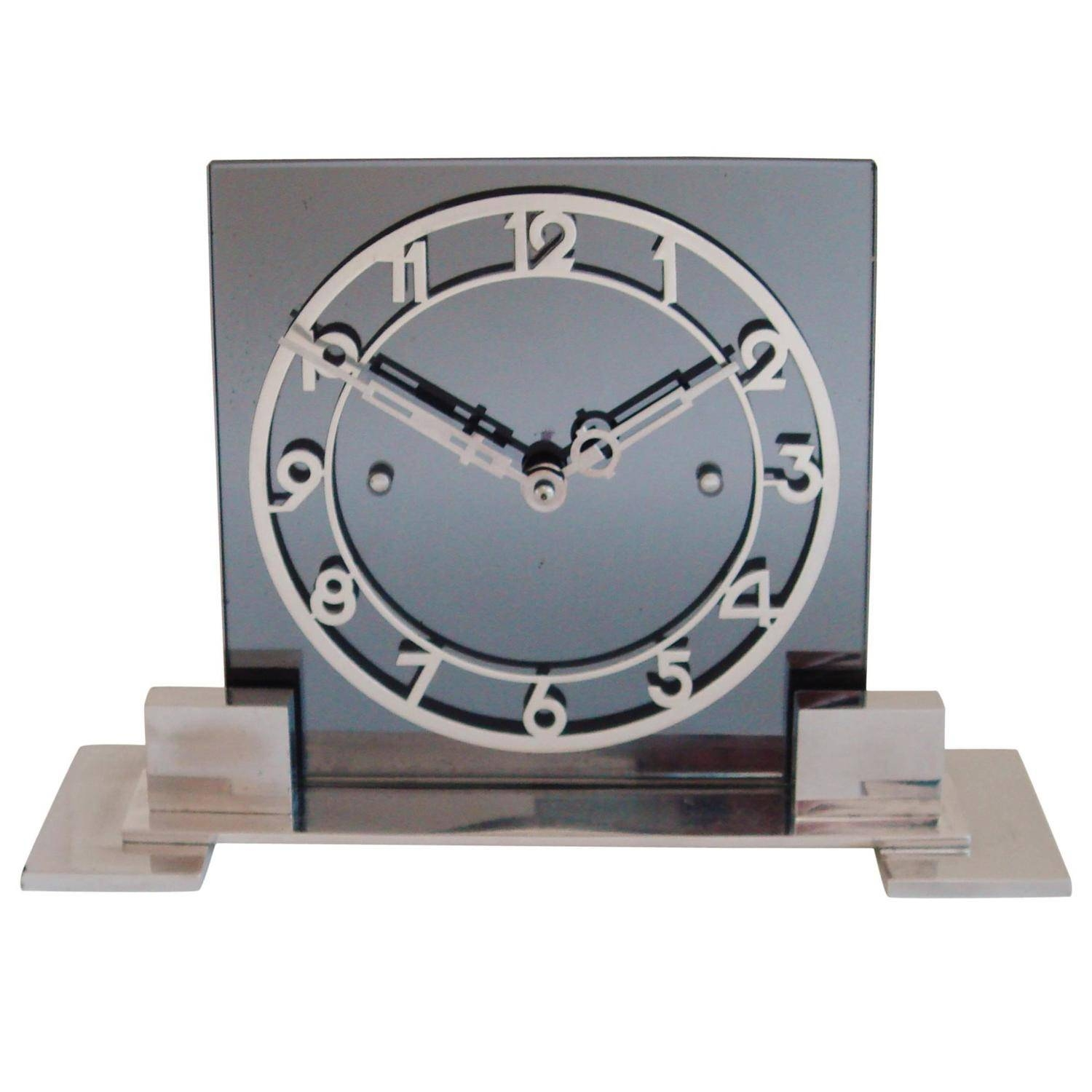Large French Art Deco Mantle Clock In Chrome, Aluminium And Gray Inside 2017 Large Art Deco Wall Clocks (View 30 of 30)