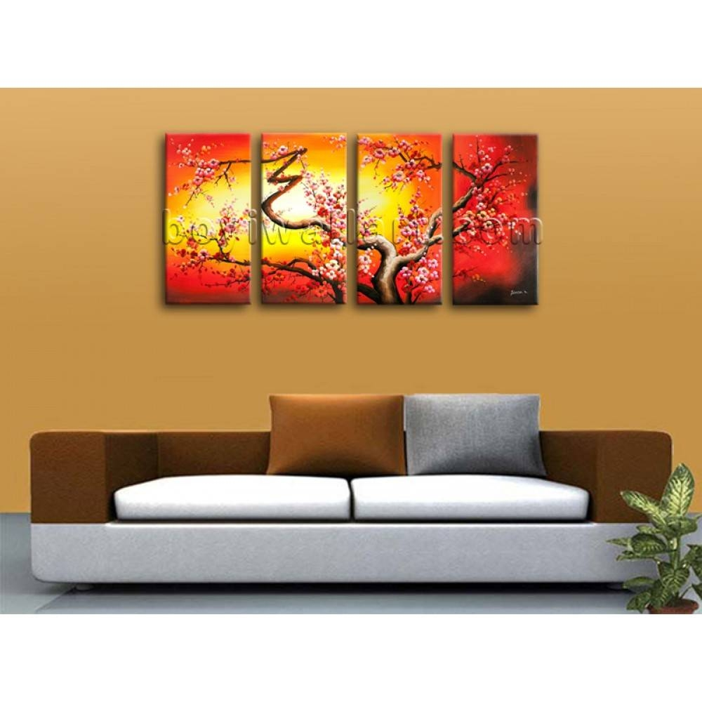 Large Giclee Print Abstract Plum Tree Blossom Painting Canvas Wall For Most Up To Date Plum Wall Art (View 12 of 20)