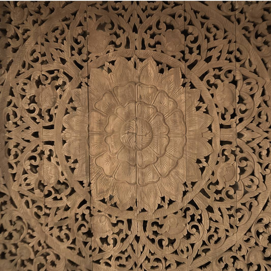 Large Grand Carved Wooden Wall Art Or Ceiling Panel – Siam Sawadee For Recent Wooden Wall Art Panels (View 6 of 20)