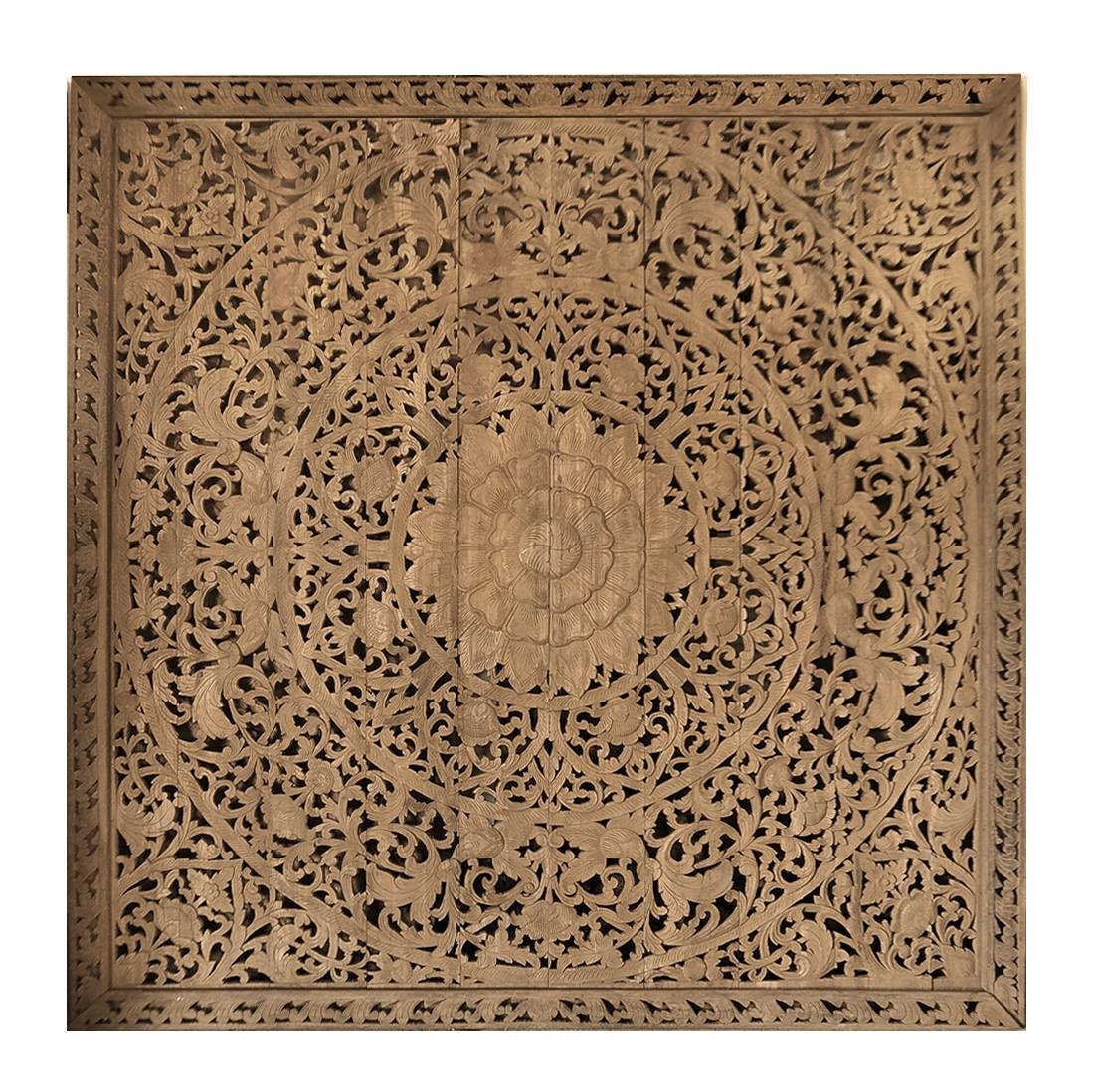Large Grand Carved Wooden Wall Art Or Ceiling Panel – Siam Sawadee Within 2017 Wood Carved Wall Art Panels (View 15 of 25)