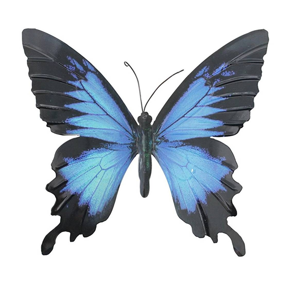 Large Metal Butterfly Blue And Black Outdoor Garden Home Intended For Most Recently Released Large Metal Butterfly Wall Art (View 11 of 25)