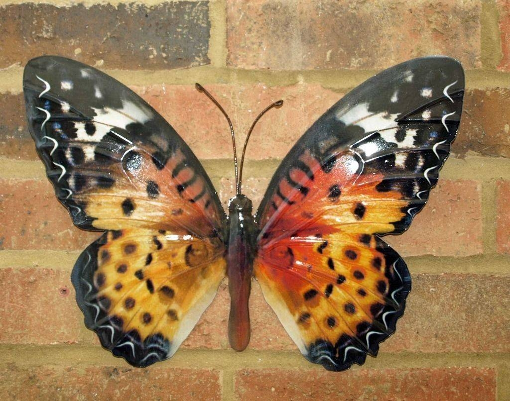 Large Metal Butterfly Wall Art Orange Brown 35Cm Garden Home Pertaining To Most Up To Date Large Metal Butterfly Wall Art (View 14 of 25)