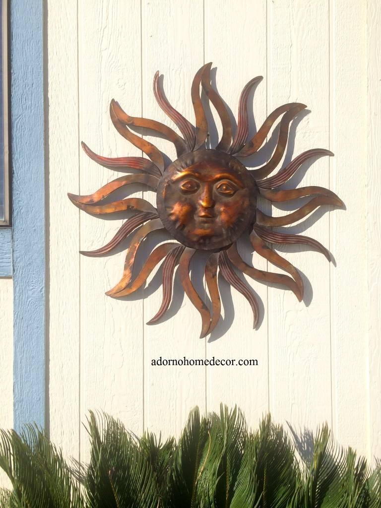 Large Metal Sun Wall Decor Rustic Garden Art Indoor Outdoor Patio With Regard To Best And Newest Metal Large Outdoor Wall Art (View 2 of 25)