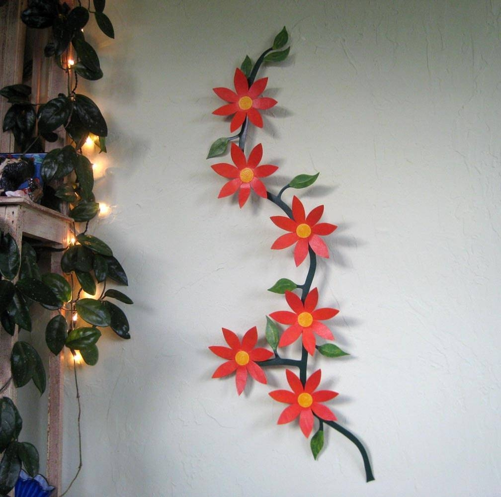 Large Metal Wall Art Flower Vine Sculpture Climbing Trailing Regarding Recent Red Flower Metal Wall Art (View 14 of 25)