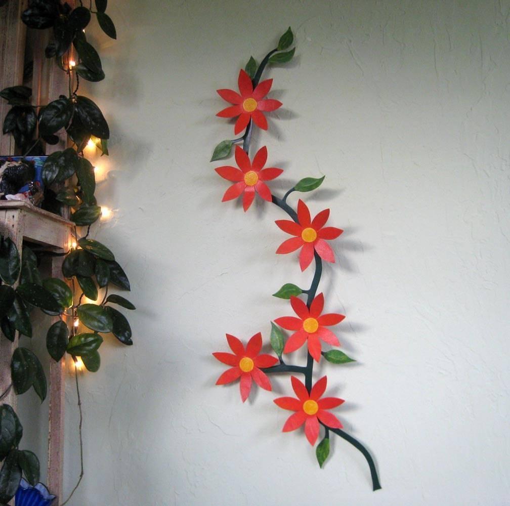 Large Metal Wall Art Flower Vine Sculpture Climbing Trailing Regarding Recent Red Flower Metal Wall Art (View 14 of 25)