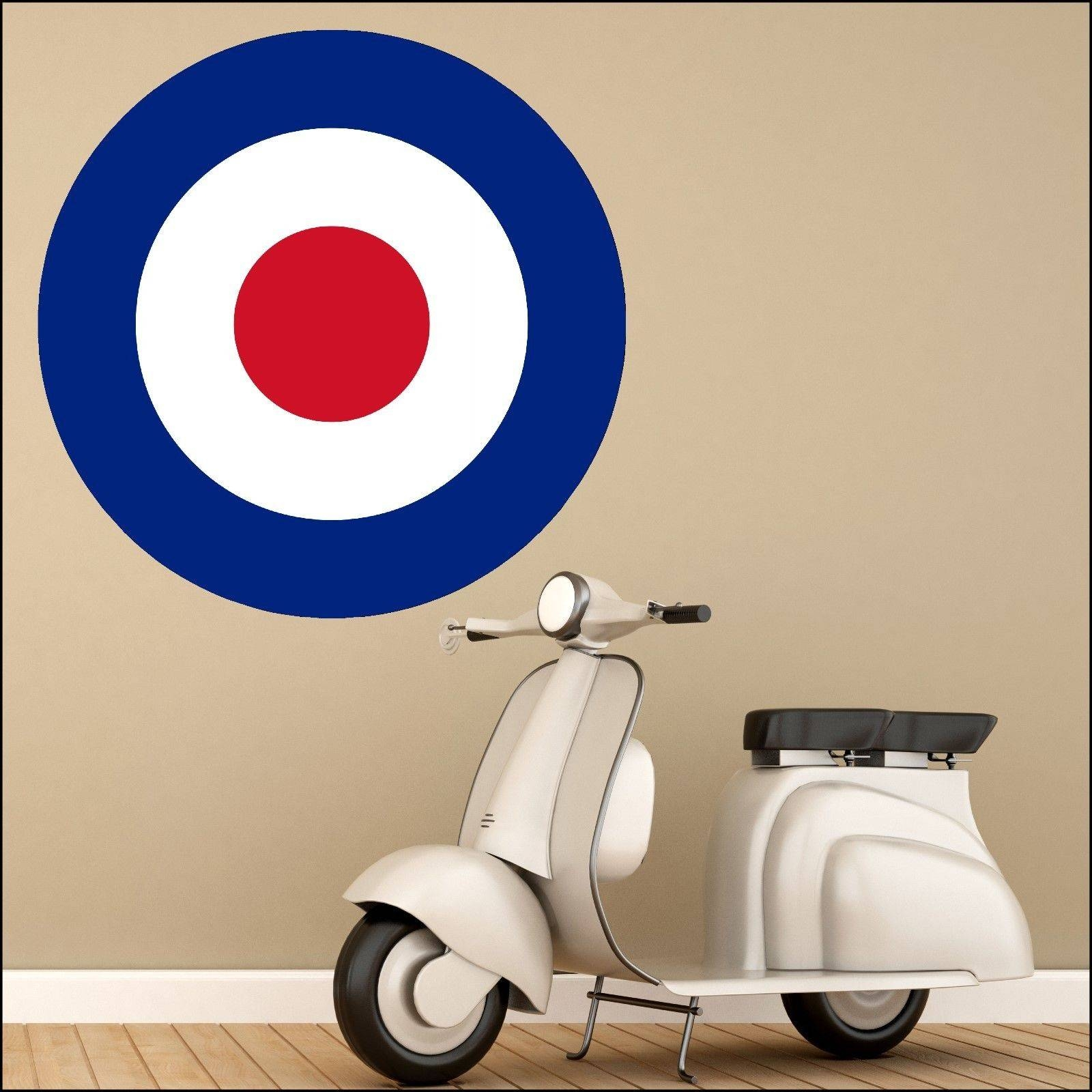 Large Mod Mods Scooter Red White Blue Target Wall Art Sticker 6 Intended For Most Up To Date Vespa 3D Wall Art (View 10 of 20)
