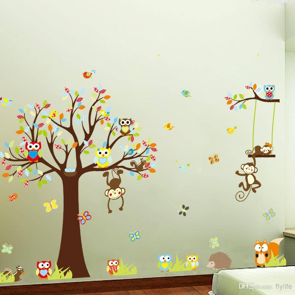 Large Monkey Owl Tree Wall Decal Removable Sticker Kids Art Within Best And Newest Owl Wall Art Stickers (View 8 of 15)