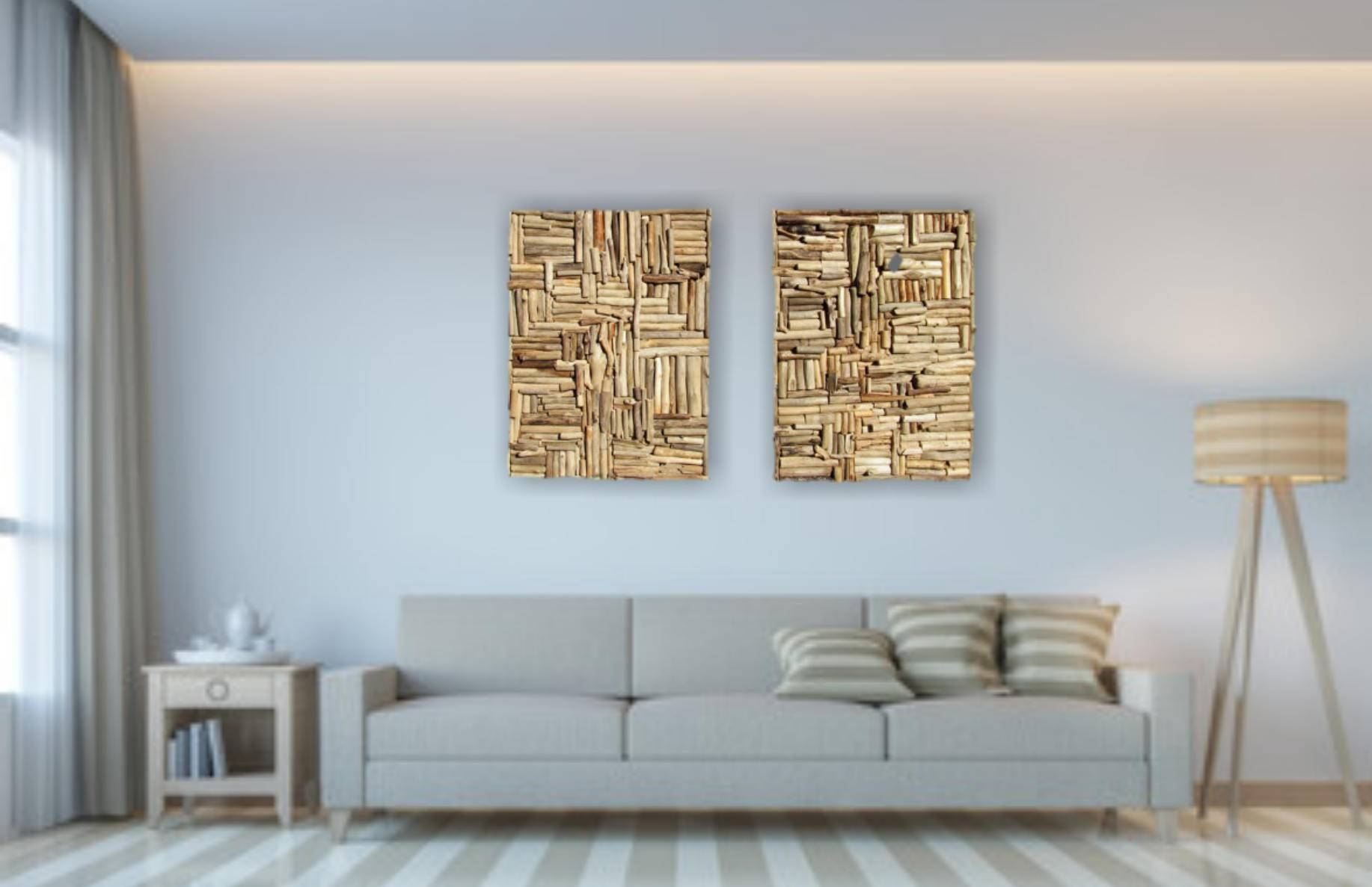 Large Mosaic Driftwood Wall Art Beach Home Decor Coastal Inside Most Recently Released Large Driftwood Wall Art (View 18 of 30)