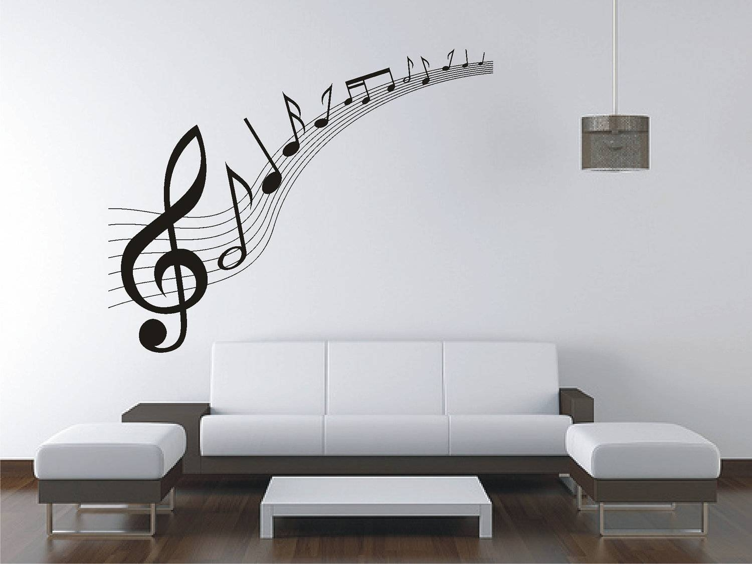 Large Music Music Notes Wall Sticker Vinyl Decal Wall Throughout Newest Music Note Art For Walls (View 4 of 25)