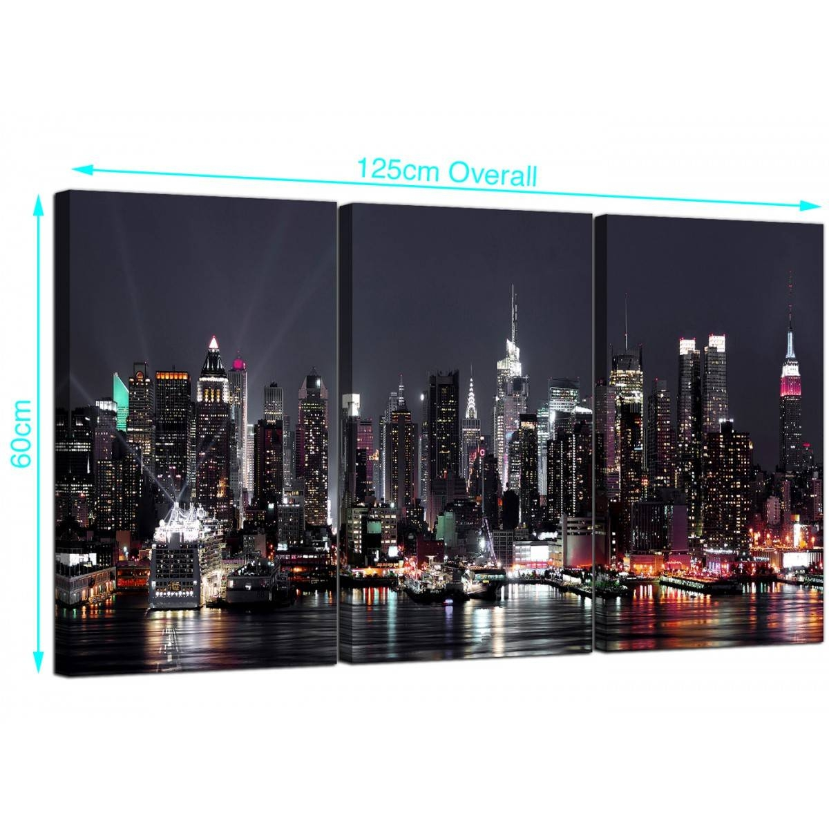 Large New York Skyline Canvas Pictures Set Of 3 For Your Office Pertaining To Most Current New York Skyline Canvas Black And White Wall Art (View 4 of 20)