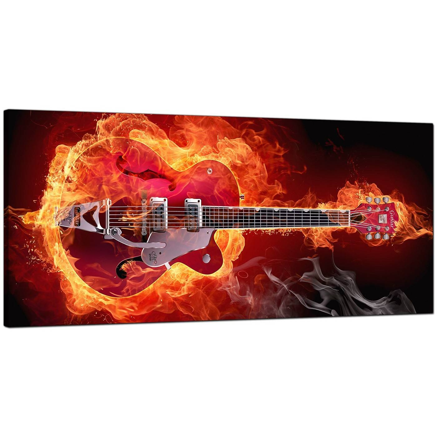 Large Orange Canvas Pictures Of An Electric Guitar On Fire Within Latest Guitar Canvas Wall Art (View 19 of 20)