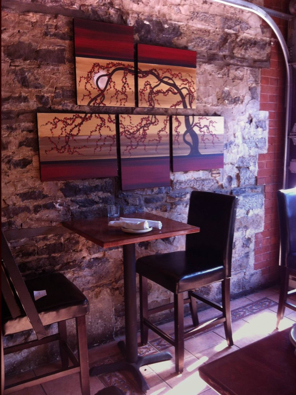Large Painting Original Artwork Huge Wall Art Red Gold Cherry For Most Recent Red Cherry Blossom Wall Art (View 22 of 30)