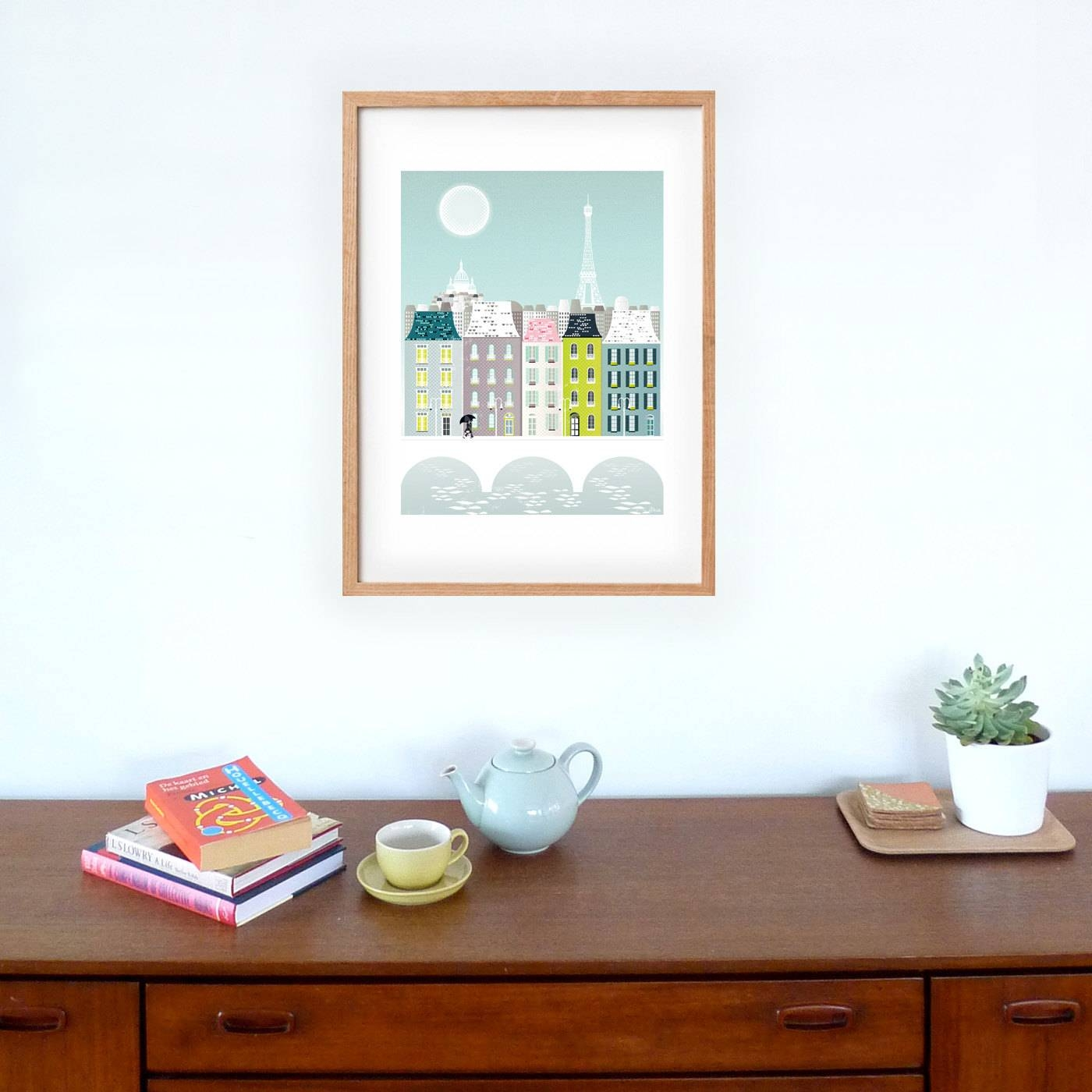 Large Paris Print Skyline Poster Paris Large Wall Art Poster Within Most Recently Released Paris Theme Nursery Wall Art (View 19 of 30)