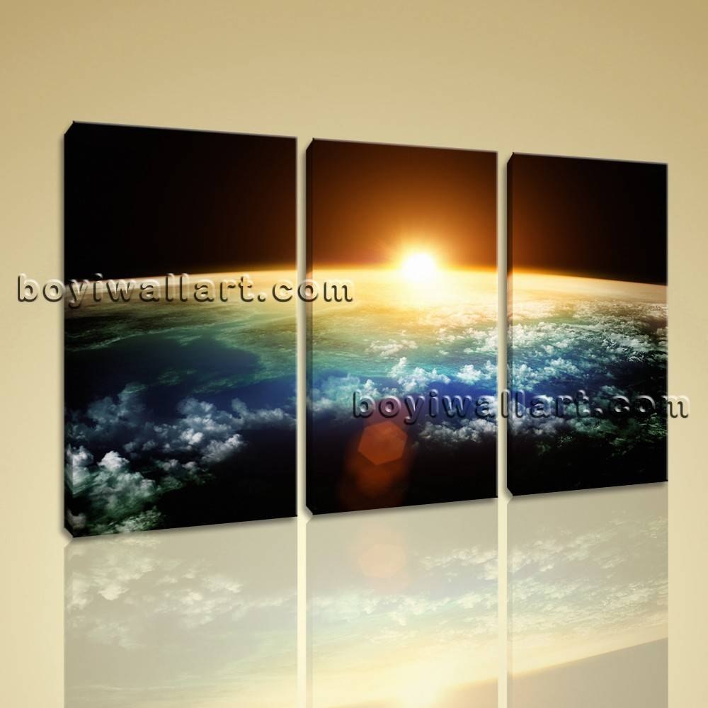 Large Planet Earth Sunset Other Photography Wall Art Printed On In Best And Newest Photography Wall Art (View 11 of 25)