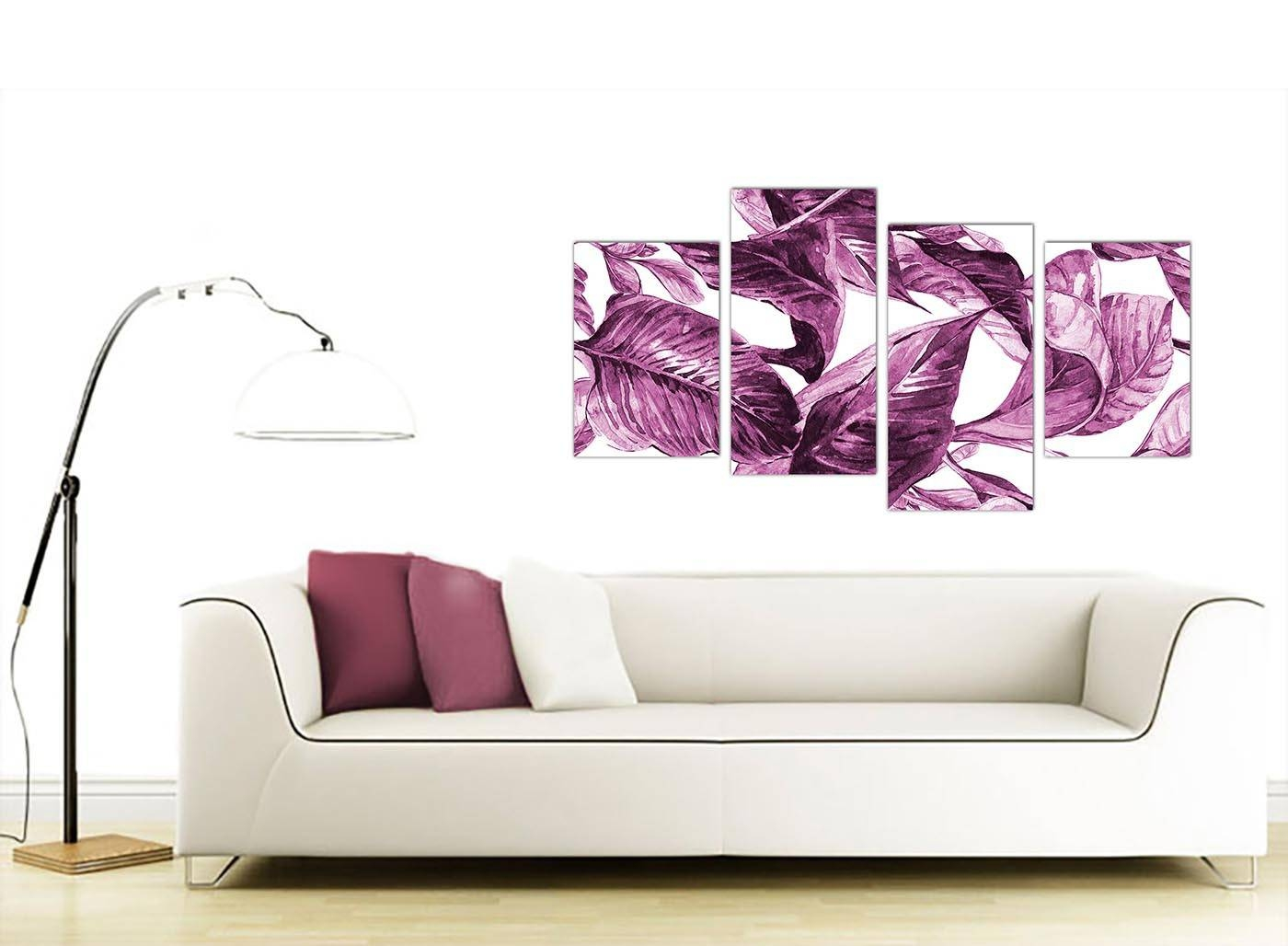 Large Plum Aubergine White Tropical Leaves Canvas Wall Art – Multi With Regard To Most Recent Aubergine Wall Art (View 12 of 20)
