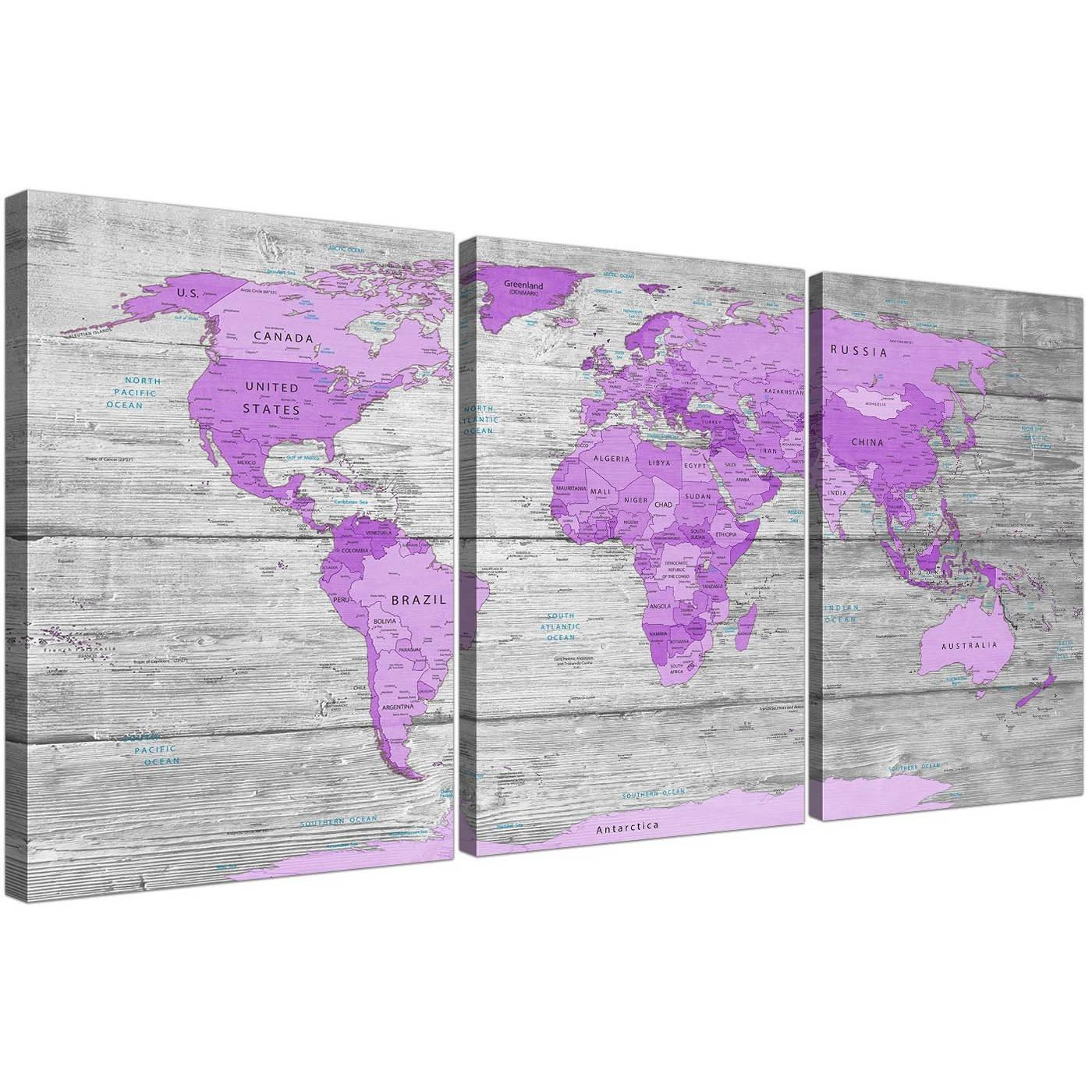 Large Purple And Grey Map Of World Atlas Canvas Wall Art Print With Recent Purple Wall Art (View 9 of 20)