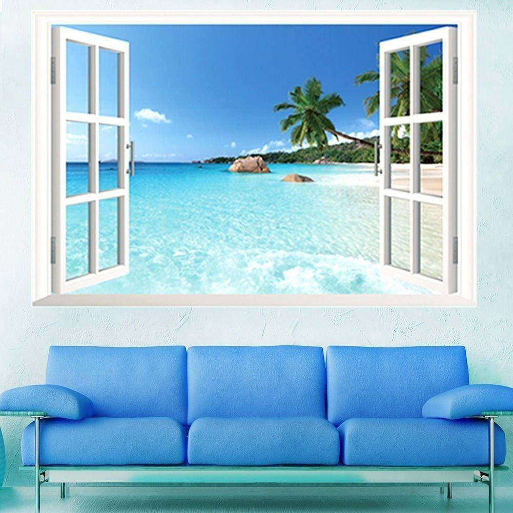 Large Pvc Removable Beach Sea 3D Window View Scenery Wall Stickers With Most Popular Beach 3D Wall Art (View 15 of 20)