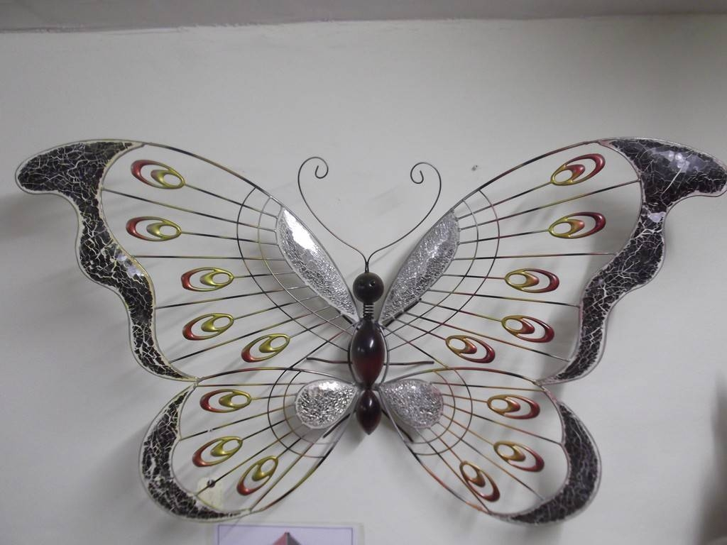 Large red butterfly wall art aztec stone and reclamations with regard to latest large metal
