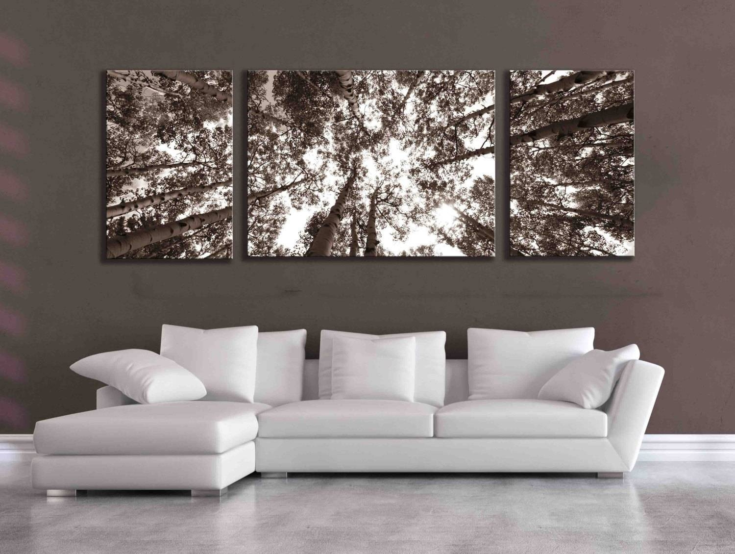 Large Sepia Three Panel Multi Piece Aspen Birch Tree Nature With Most Up To Date Over The Bed Wall Art (View 12 of 20)