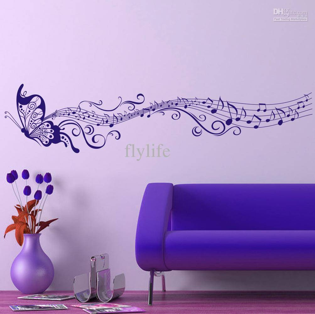 Large Singing Purple Butterfly Wall Stickers Home Decor Art With 2018 Butterflies Wall Art Stickers (View 2 of 20)