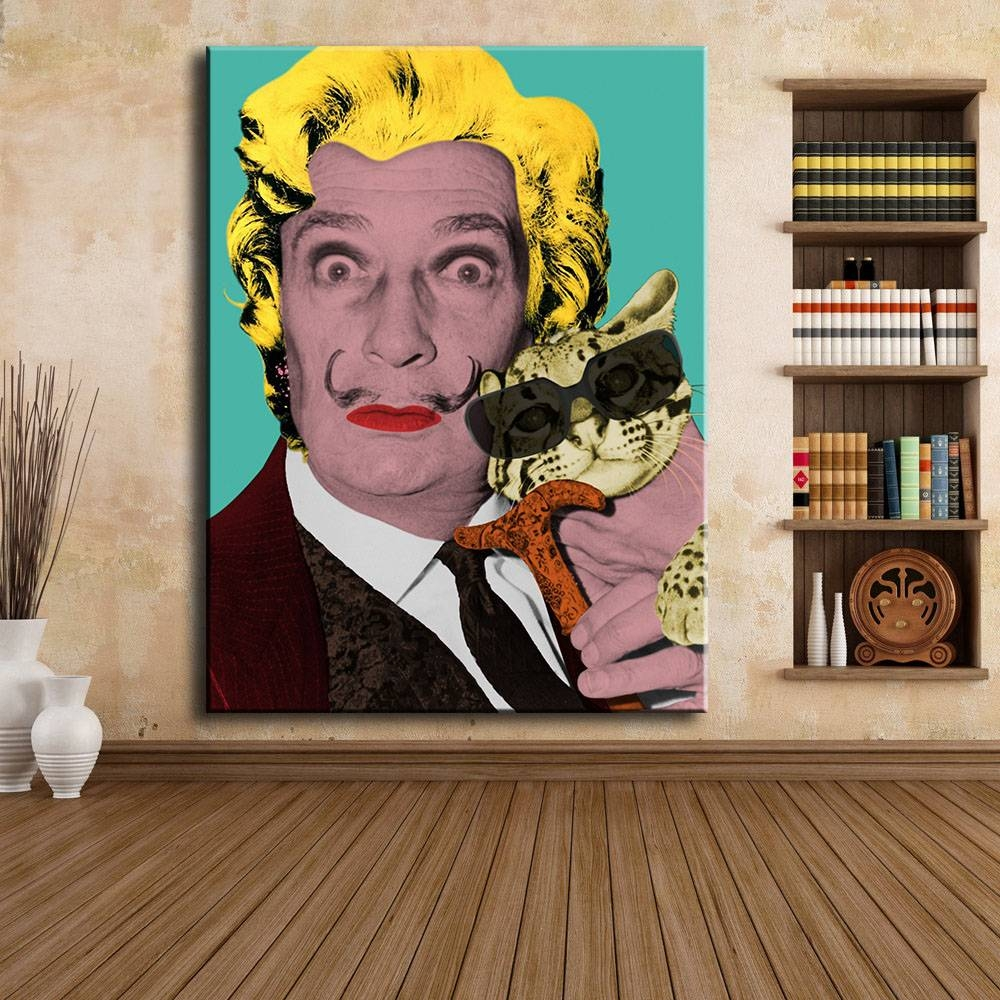 Large Size Print Oil Painting Wall Painting Salvador Dali And Cat Within Recent Salvador Dali Wall Art (View 11 of 20)
