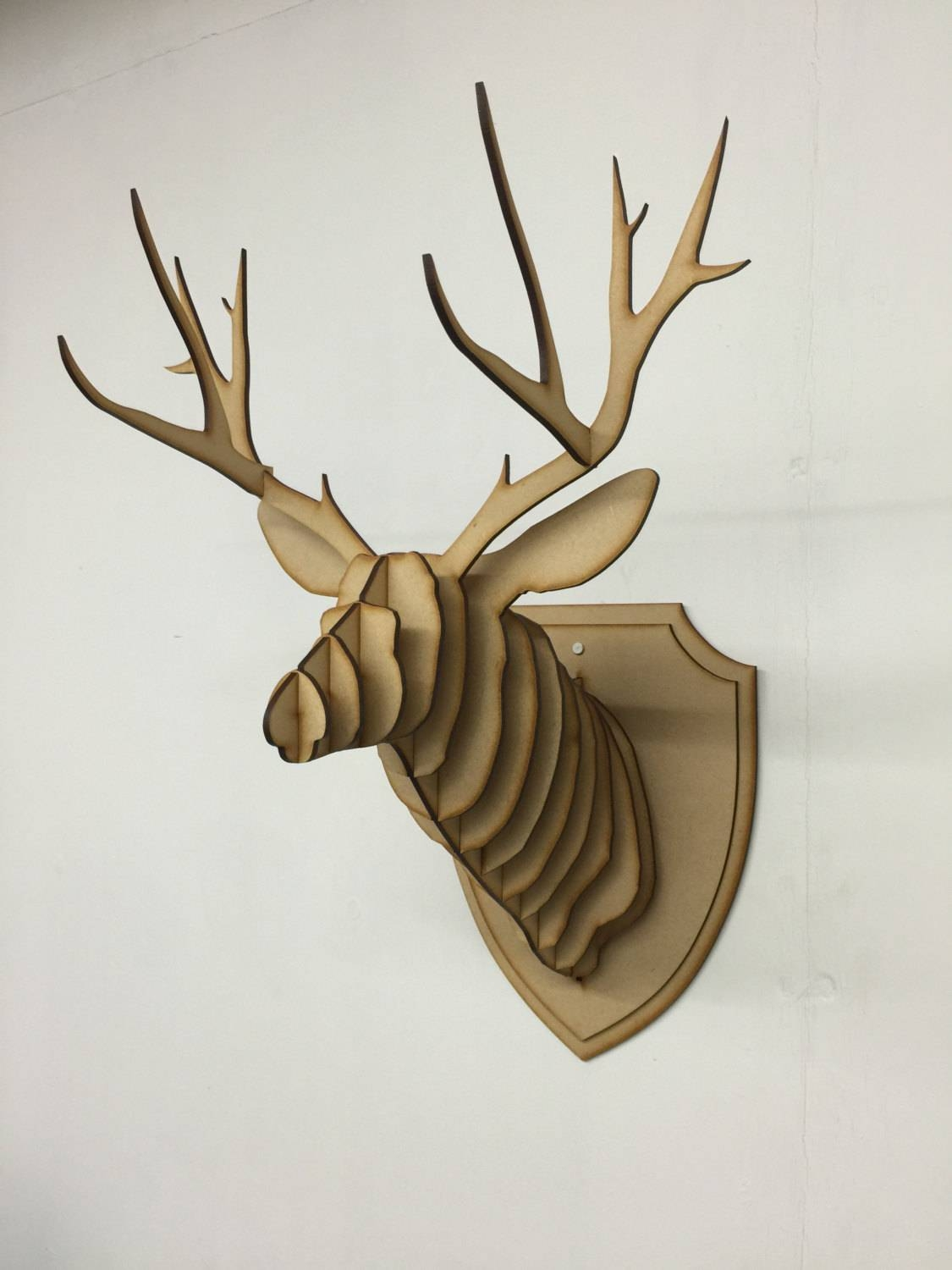 Large/ Small Wooden Deer Head Kit Wall Art Decor Laser Cut Within Best And Newest Stag Wall Art (View 12 of 20)
