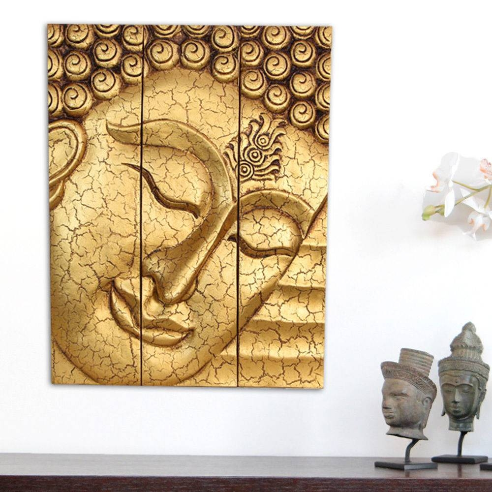 Large Thai Buddha Face Statue Wooden Carved Wall Art Hanging Throughout Recent Buddha Wooden Wall Art (View 10 of 20)