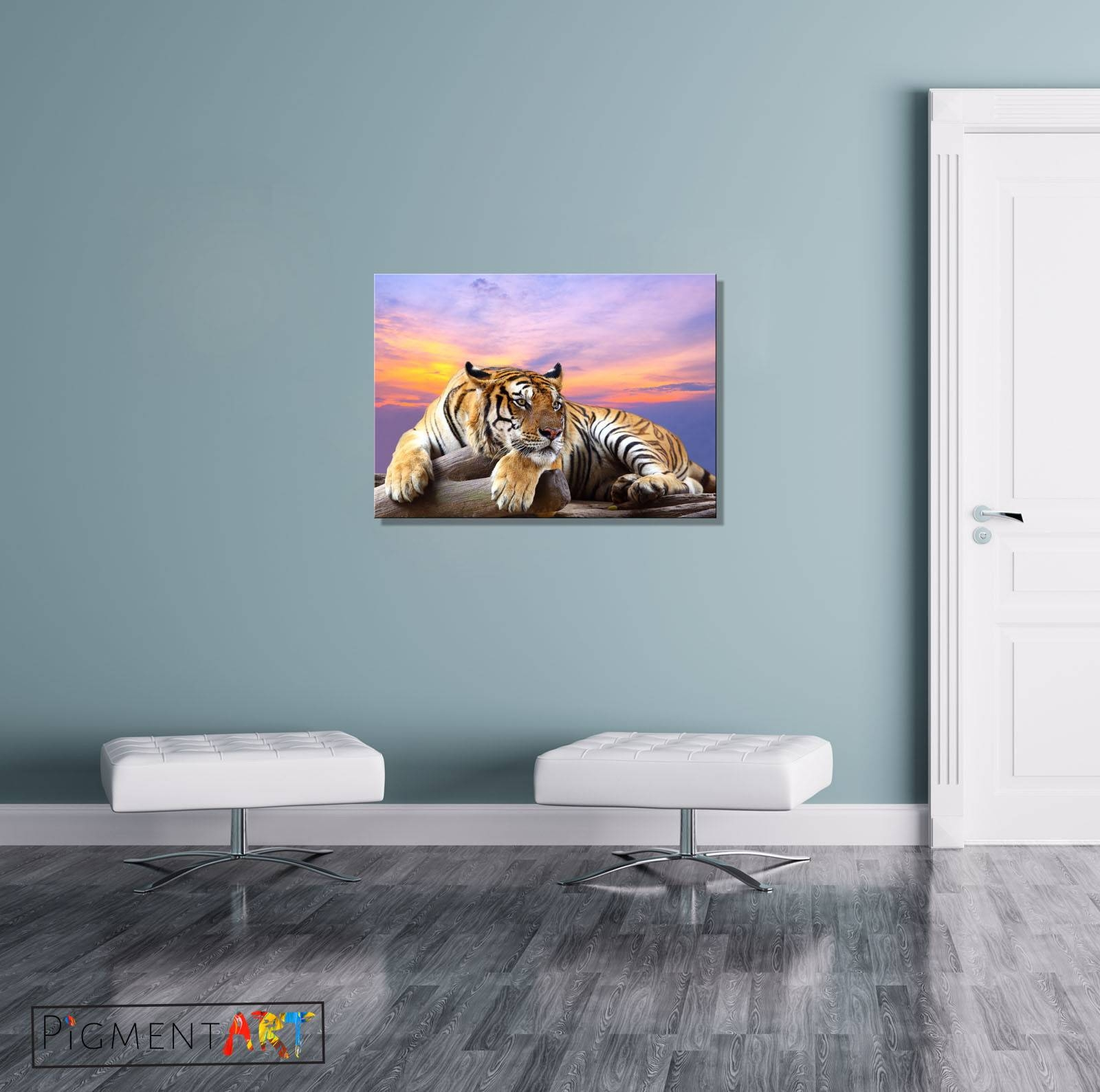 Large Tiger Sunset Animal Modern Canvas Wall Art Prints Pictures Pertaining To Best And Newest Animal Canvas Wall Art (View 16 of 20)