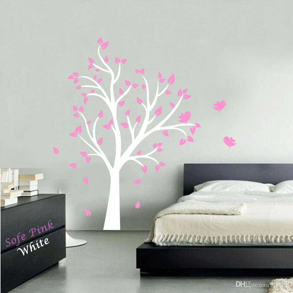 Large Tree And Birds Vinyl Wall Decal Stickers For Baby Nursery Inside 2018 Vinyl Wall Art Tree (View 7 of 20)