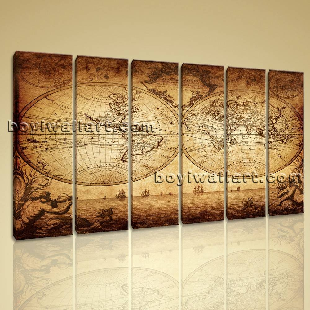 Large Vintage Map Other Retro Wall Art Canvas Print Decor Living For Latest Large Retro Wall Art (View 11 of 25)