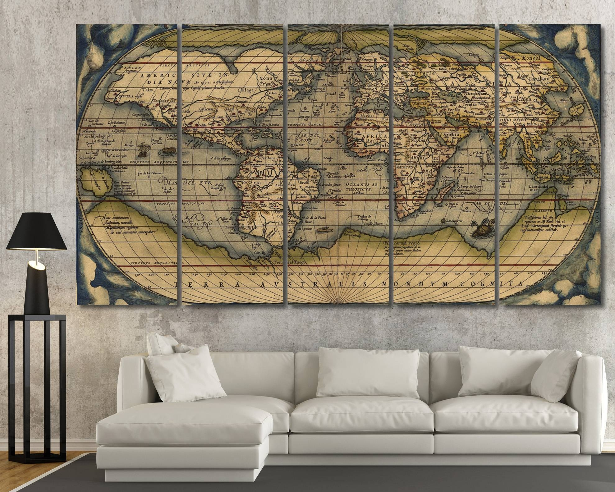 Large Vintage Wall Art Old World Map At Texelprintart Throughout Recent Maps For Wall Art (View 15 of 20)