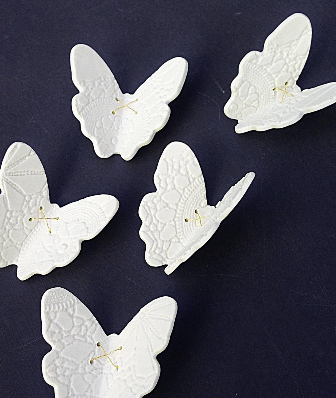 Large Wall Art 15 Porcelain 3d Butterflies White Butterfly & Pertaining To Recent White 3d Butterfly Wall Art (View 10 of 20)