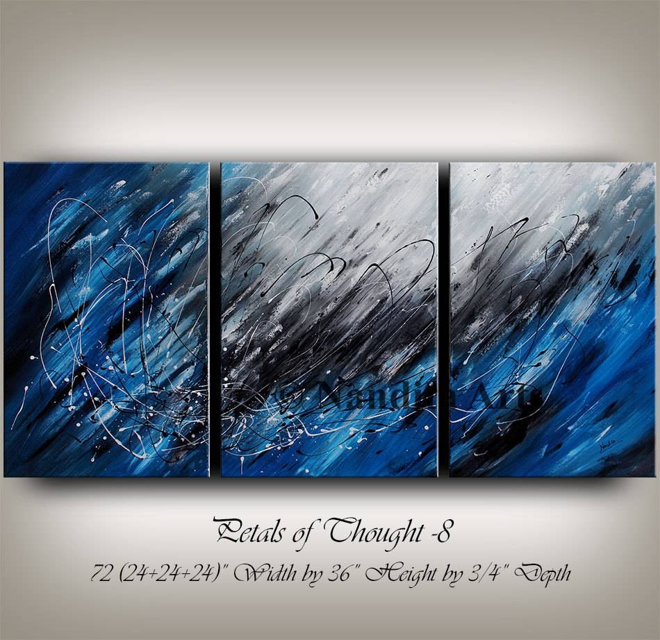 Large Wall Art Blue Acrylic Abstract Painting Wall Decor Grey Inside Current Oversized Abstract Wall Art (View 13 of 20)