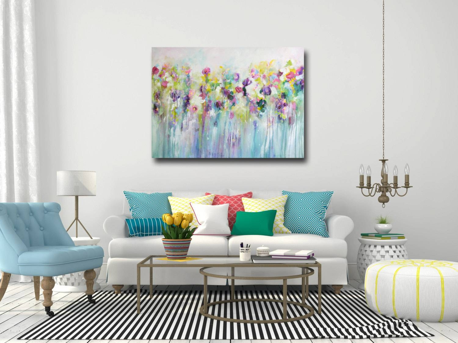Large Wall Art Canvas Art Abstract Floral Canvas Print With Latest Teal Flower Canvas Wall Art (View 18 of 20)