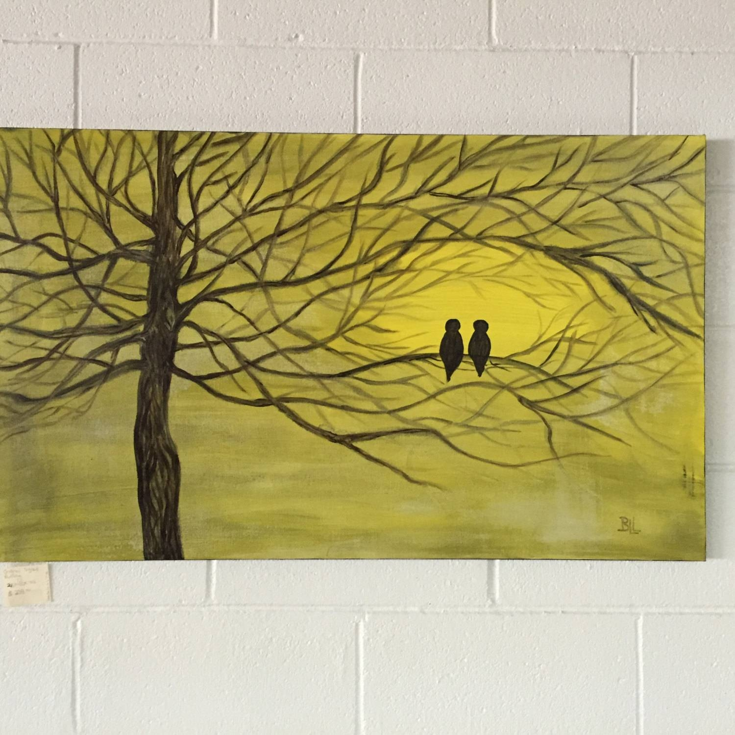 Large Wall Art Canvas Birds Artwork Large Canvas Painting Regarding Best And Newest Large Yellow Wall Art (View 12 of 20)