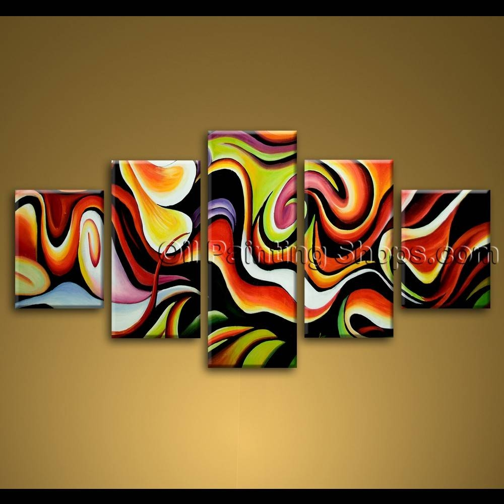 Large Wall Art Colorful Abstract Oil Painting On Canvas Modern Framed For Most Current Extra Large Framed Wall Art (View 15 of 20)