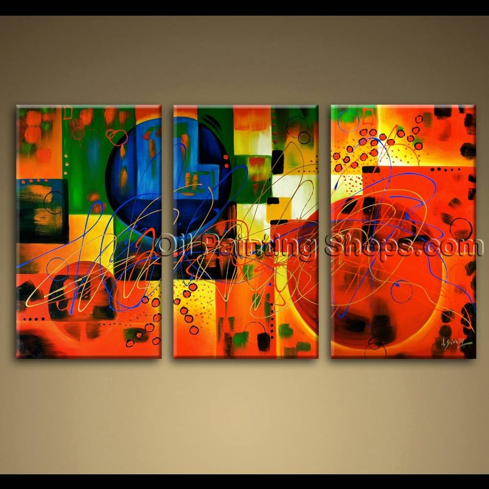 Large Wall Art Colorful Abstract Oil Painting On Canvas Modern Framed Throughout 2018 Extra Large Framed Wall Art (View 16 of 20)
