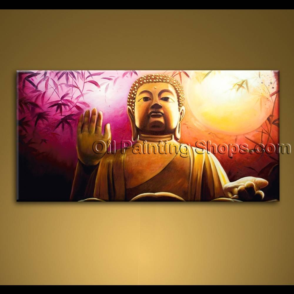Large Wall Art Feng Shui Original Abstract Buddha Oil Painting Zen pertaining to Current Large Buddha Wall Art